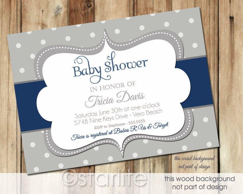 Baby Shower Invitation Bold Dots Navy Dark Blue Gray Grey