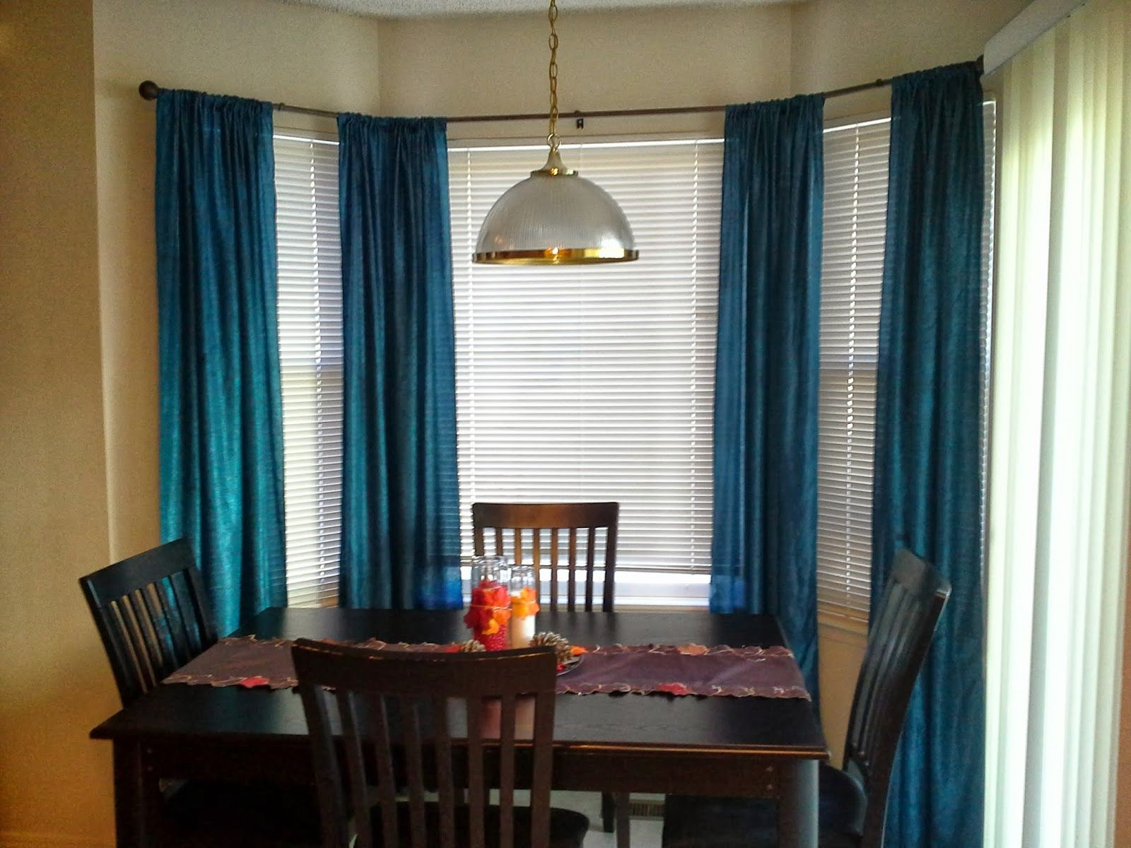 Cool Pendant Lamp On The Rectangular Table And Adorable Kitchen Curtain Bay Window Ideas Curtains