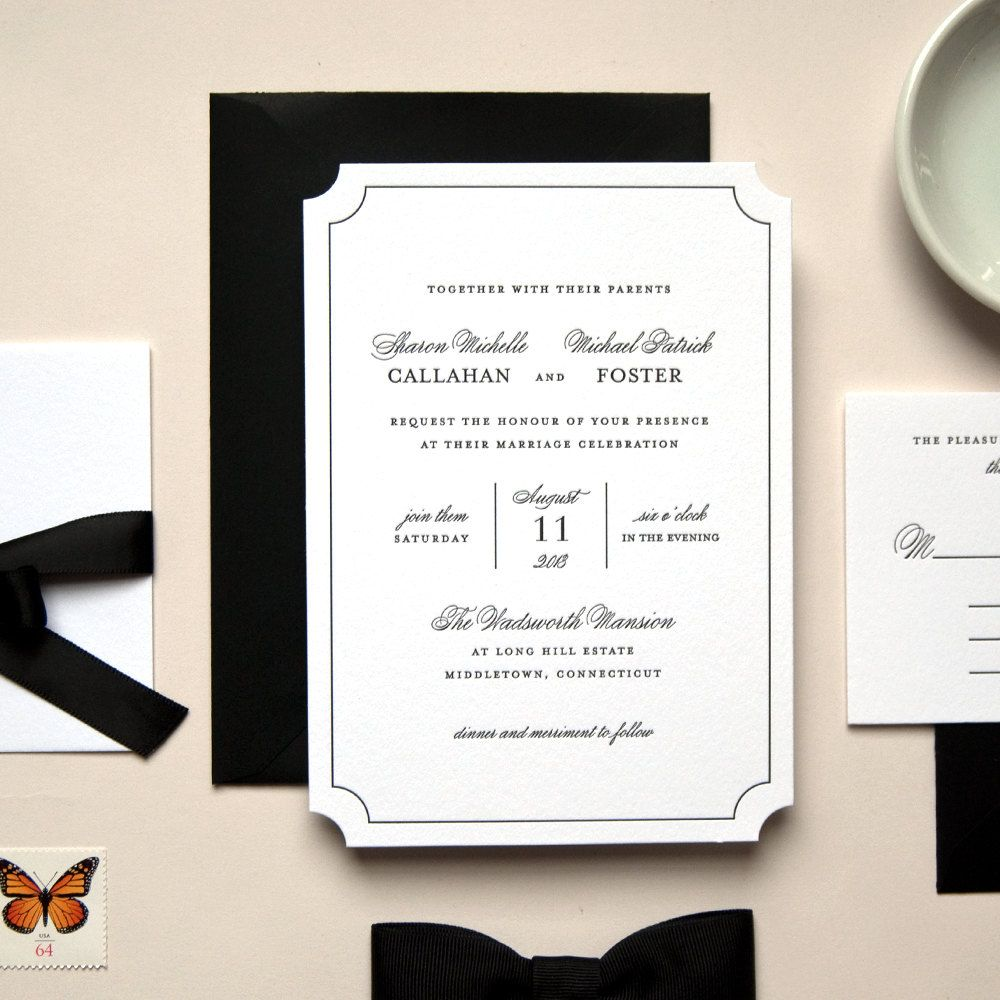 Elegant Black and White Die Cut Letterpress Wedding Invitation ...