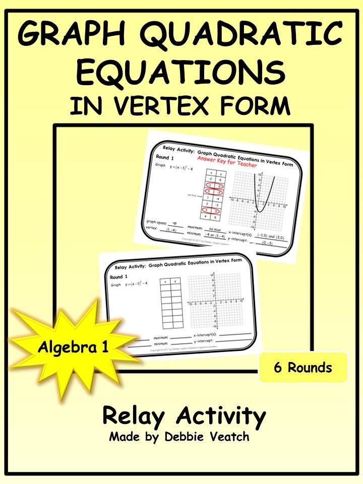 Graph Quadratic Equations In Vertex Form Relay Activity Equation
