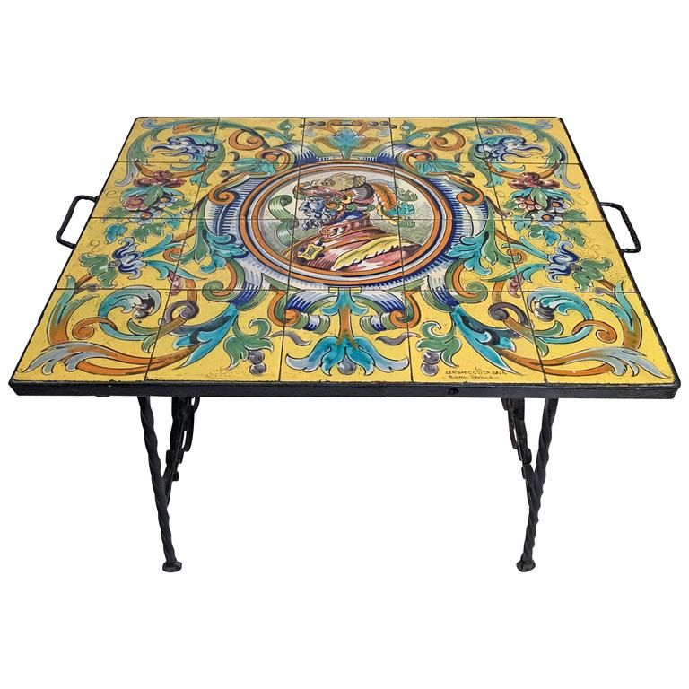 Hand Wrought Iron Table With Spanish Ceramic Tile Top From A