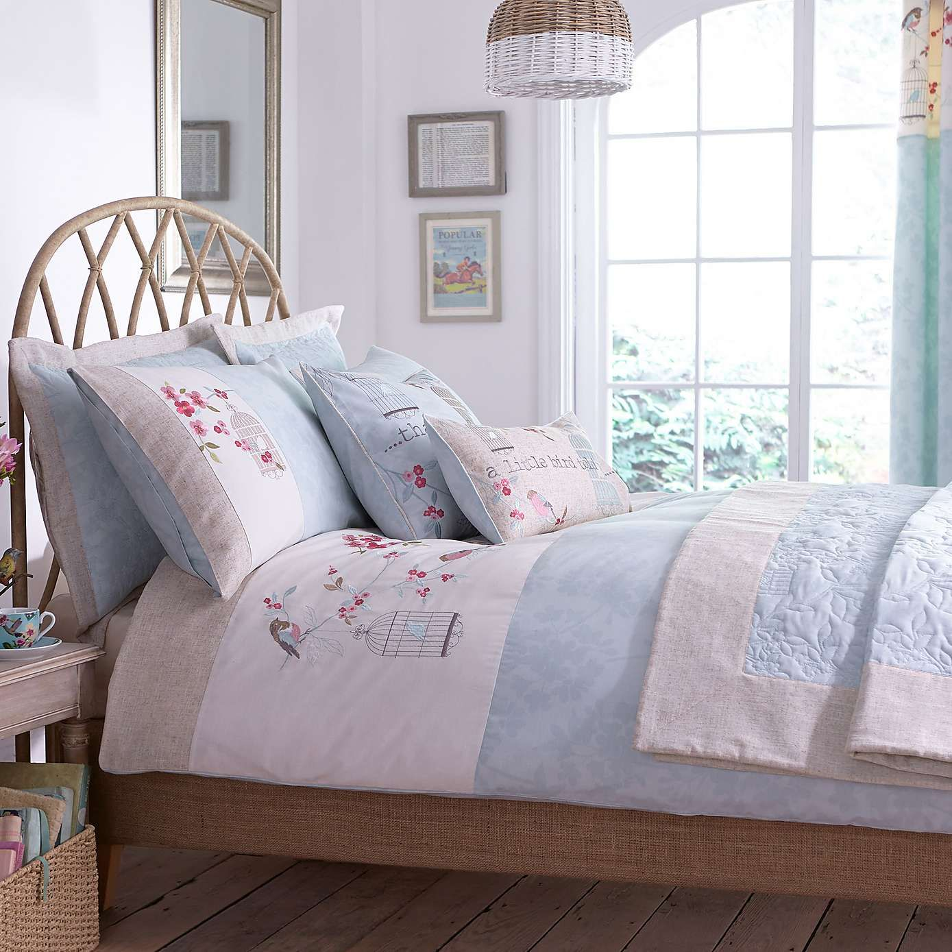 Evelyn Duck Egg Bed Linen Collection Dunelm