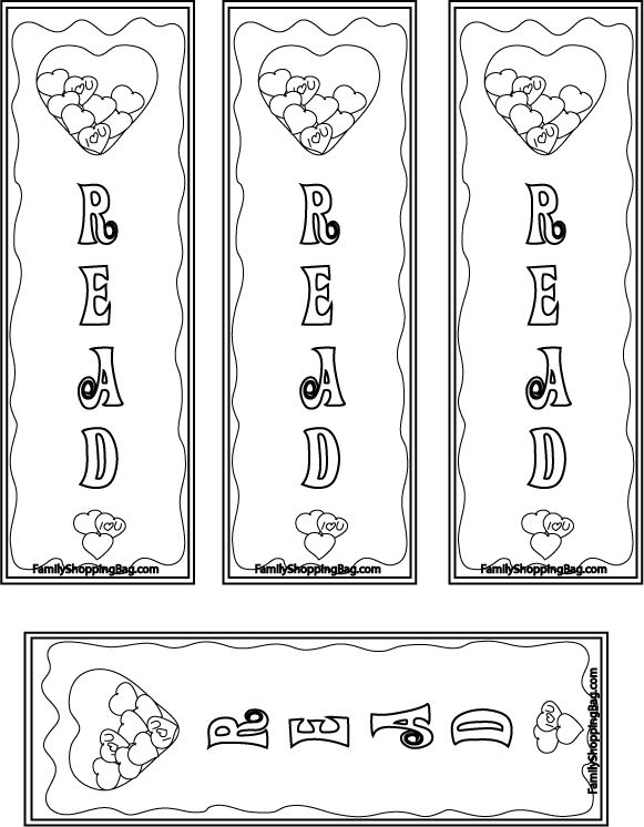 Color Your Own Bookmarks Coloring Pages Valentines Bookmarks