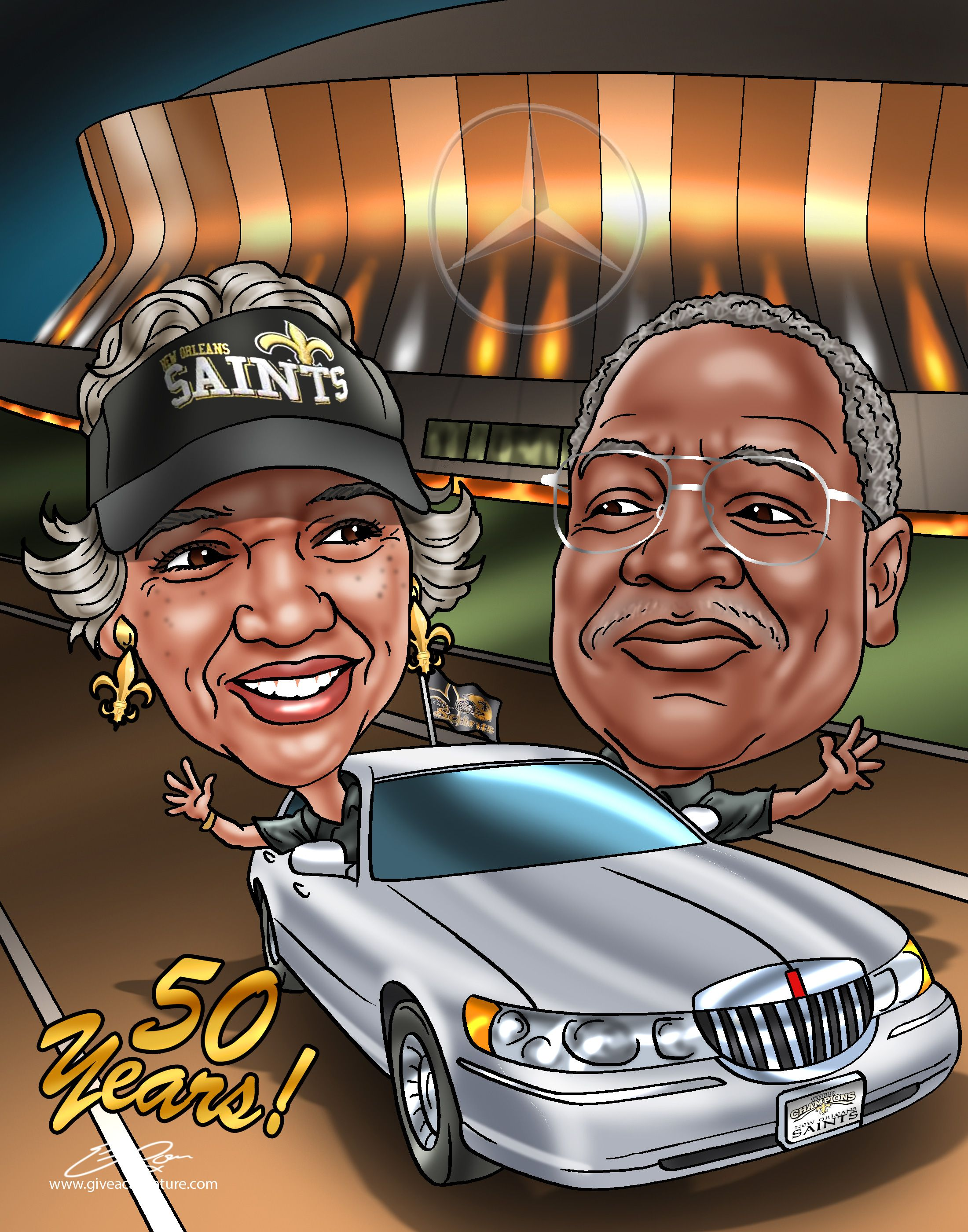 50th anniversary gifts a custom caricature 50th