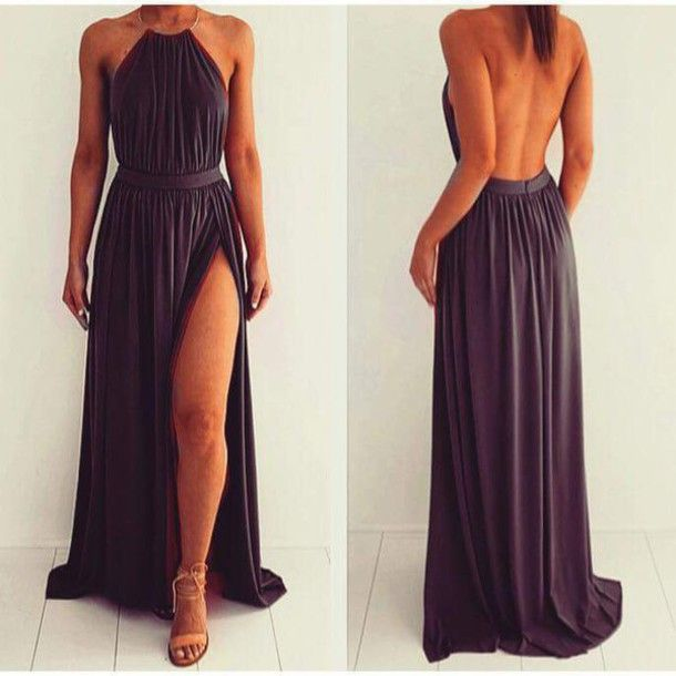 Hot Sexy Dark Grey A-line Halter Neckline Split Prom Dress Evening Dress with Open Back