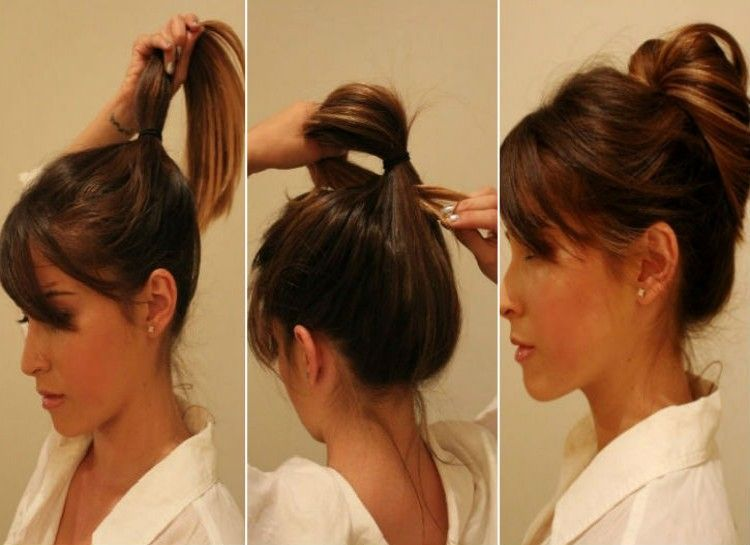 304e1bc314dcd MESSY BUN Pull your hair into a loose ponytail