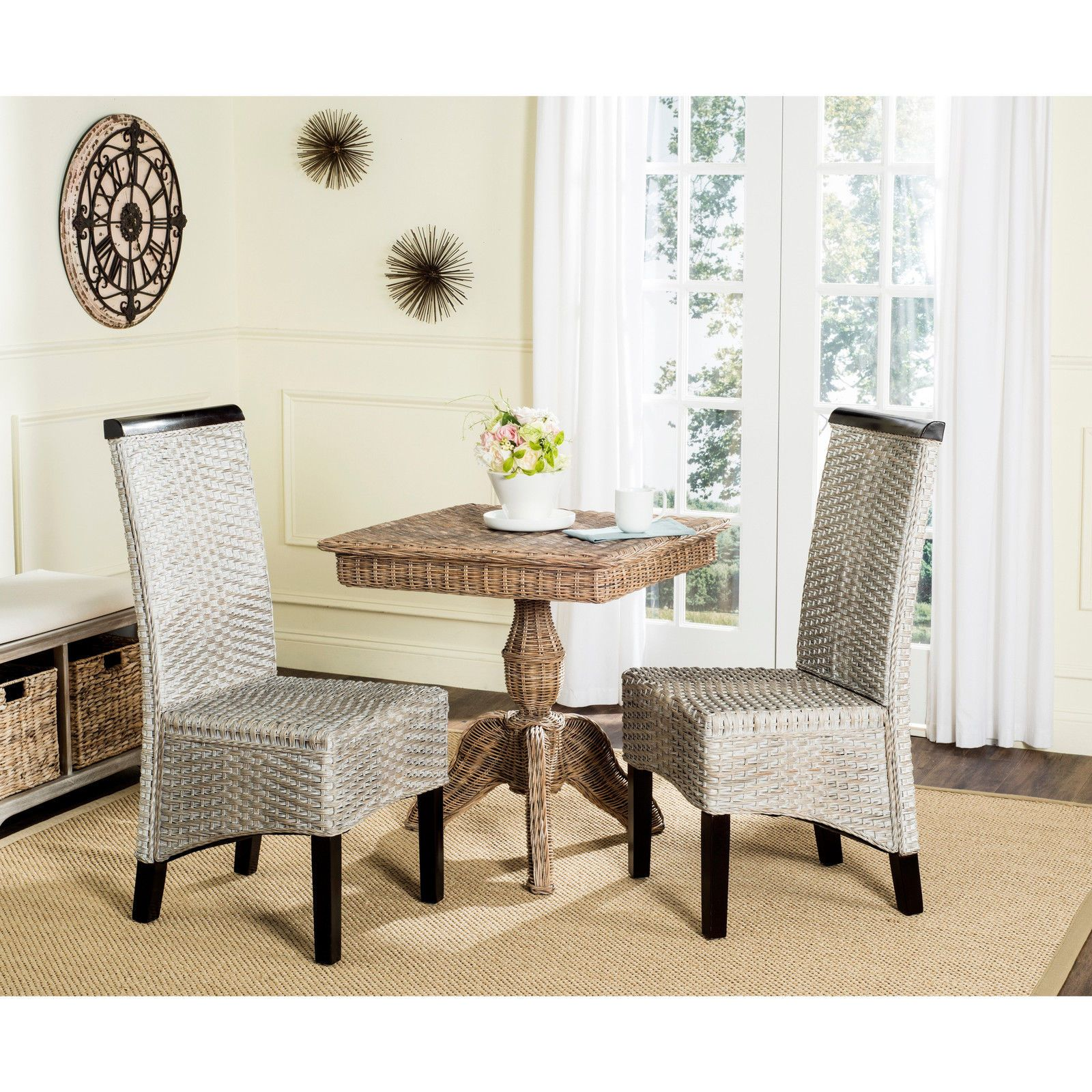 Safavieh Rural Woven Dining Ilya Antique Grey Wicker Side Chairs Endearing Side Chairs Dining Room Design Inspiration