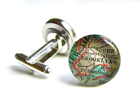 Brooklyn Map Cuff Links. Those vintage frenchcuffed by Juanitas, $30.00