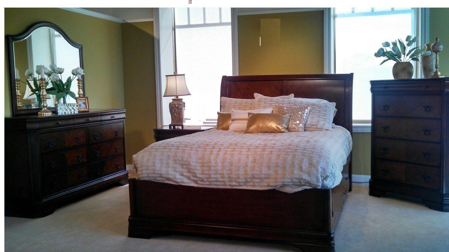 Windsor manor rails mahogany queen bedroom set u classic traditions