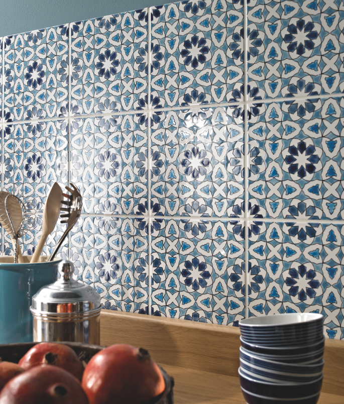 Make A Mediterranean Style Splashback Out Of These Andalucia Tiles By Fired Earth Blue Kitchen Tiles Moroccan Tile Backsplash Moroccan Tiles Kitchen