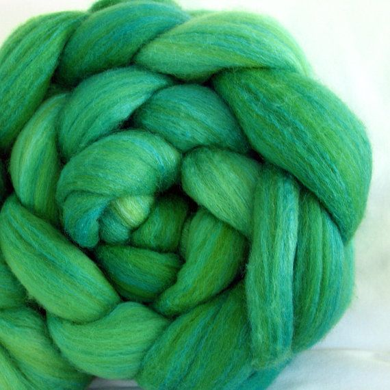 Tussah Silk/Merino Roving Hand Dyed (ATM629) by tayloredfibers