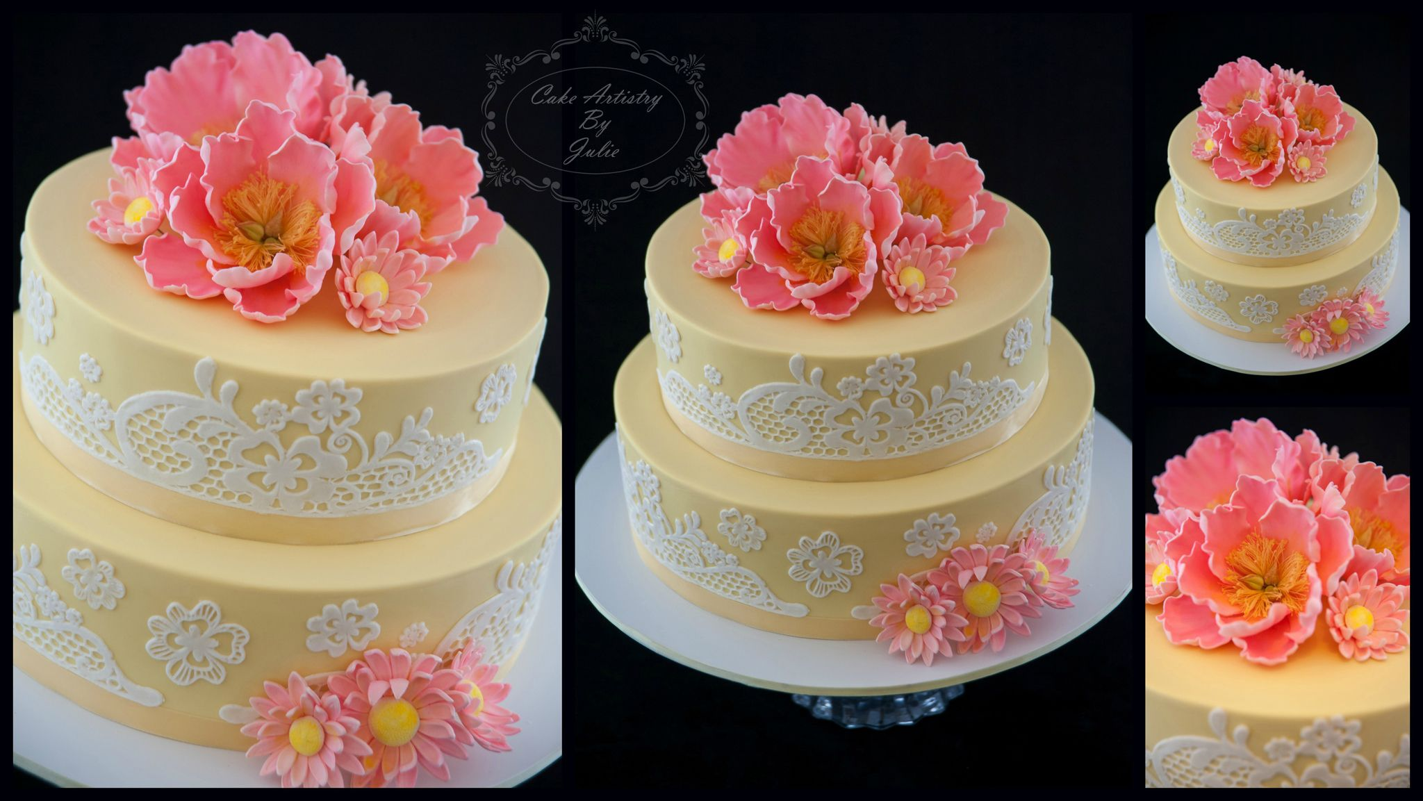 Summer Beauty - A beautiful wedding cake n the gorgeous colours of butter yellow and peachy pink! The open peonies and daisies are all hand-made from sugar. The pretty lace on the cake is edible. Bottom tier was a Cherry Ripe mud, and the top tier was a chocolate mud.