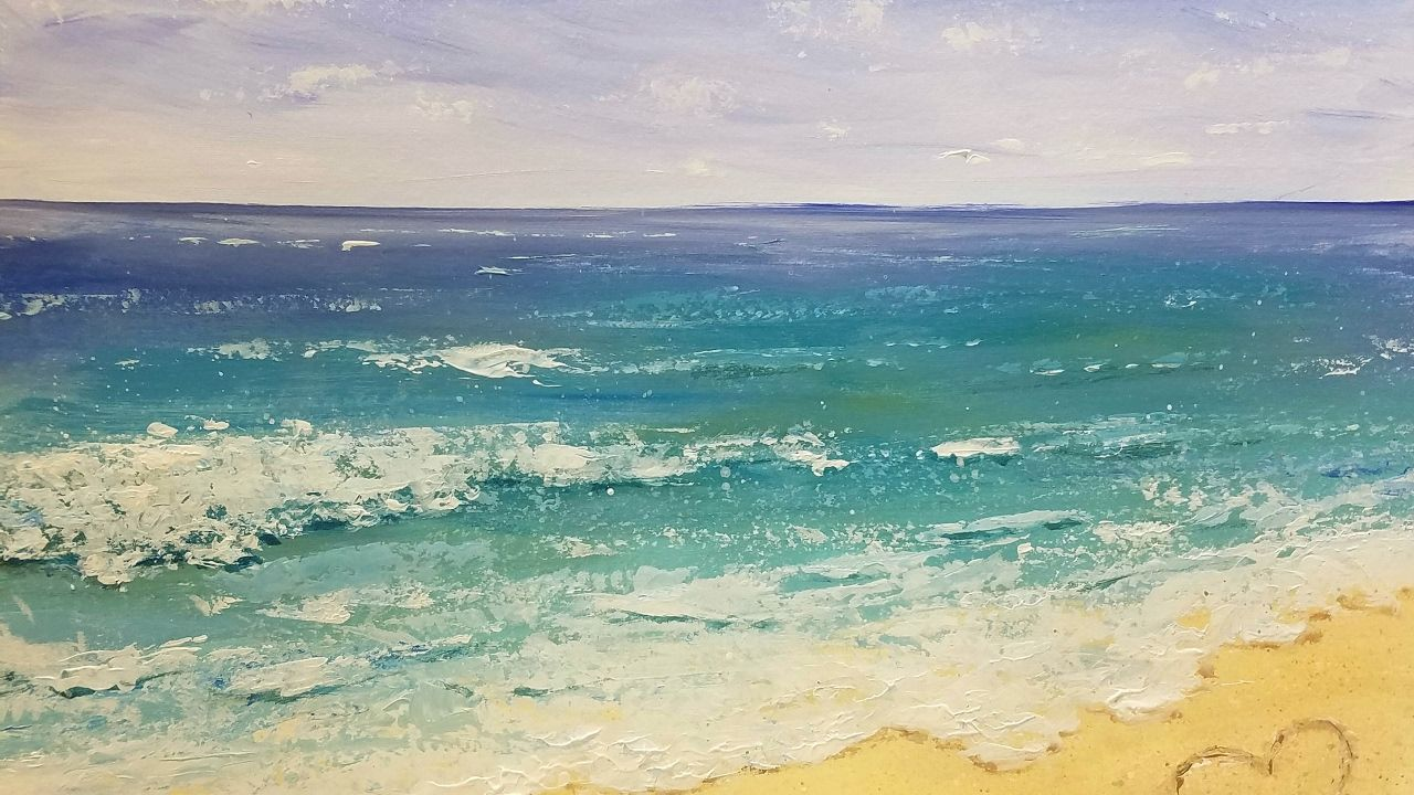 Easy Impasto Beach Acrylic Painting