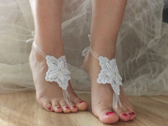 bridal anklet Beach wedding barefoot sandals infant by geranum, $18.00