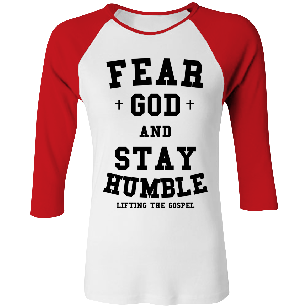 Women's Red/White Fear God And Stay Humble Baseball Tee