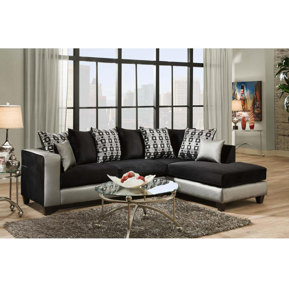 Flash Furniture Riverstone Implosion Black Velvet Sectional Black Silver Sectional Sofa Furniture Home Furniture