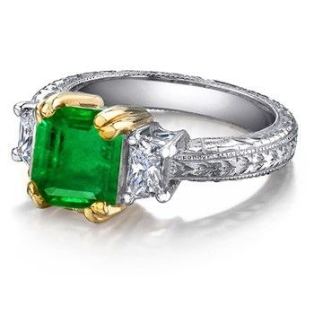 Angara Diamond Engagement Ring with Green Emerald Side Stones in Platinum WGPCBEH