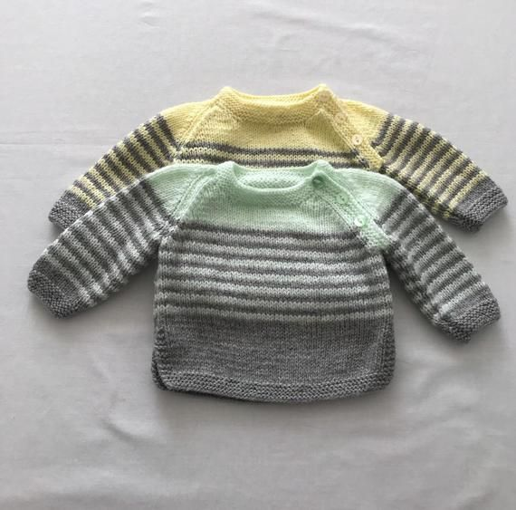 Hand Knit Baby Boys Cardigan Newborn And 0-3months Sweaters