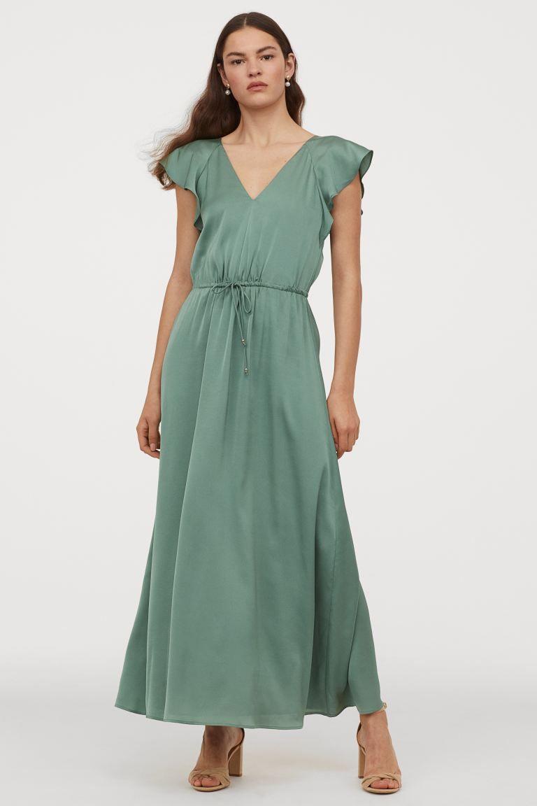 Langes Kleid Mit Flugelarmeln In 2020 Kleid Mit Armel Lange Kleider Und Kleider H M