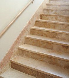 Staircase Authentic Durango Stone Mexican Travertine Stairs Sol Light Gold  Office