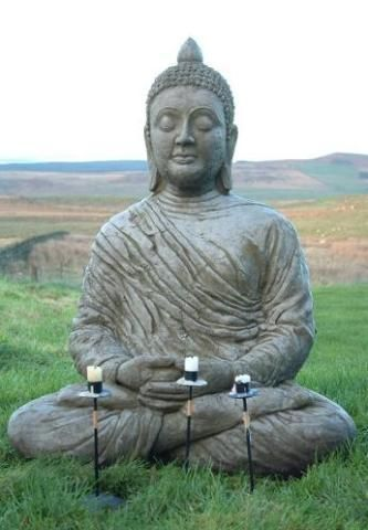 Discount Garden Statues   Large Stone Cast Meditating Buddha Garden  Ornament   Statue, £189.00