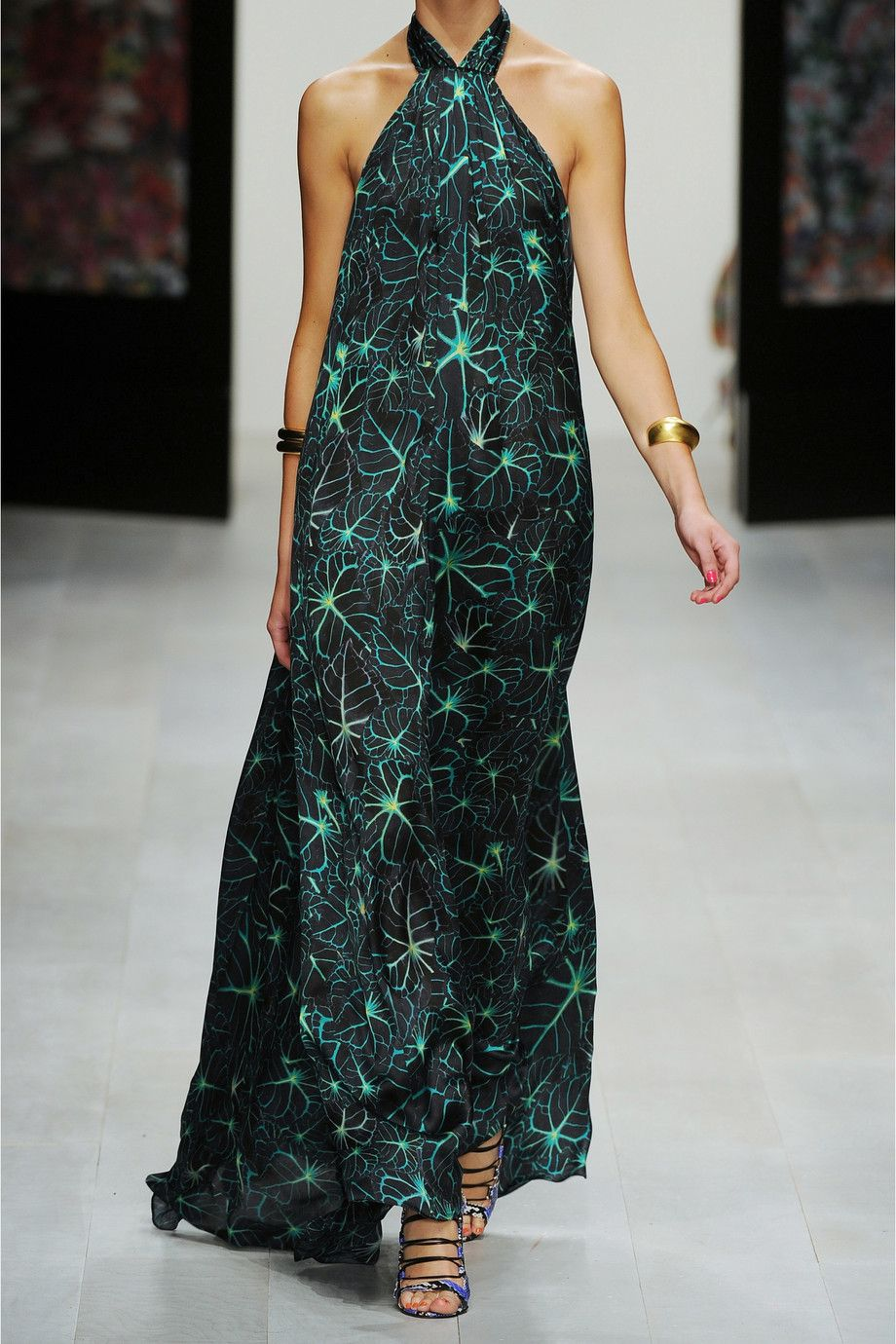 Vid- something like this would be great for your honeymoon :) Issa|Printed silk-chiffon halterneck gown|NET-A-PORTER.COM