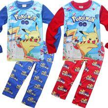 boys girls clothes sets T-shirt Autumn Winter 2016 New POKEMON GO Pikachu Christmas kids suit children pajamas Roupas manga boy(China (Mainland))