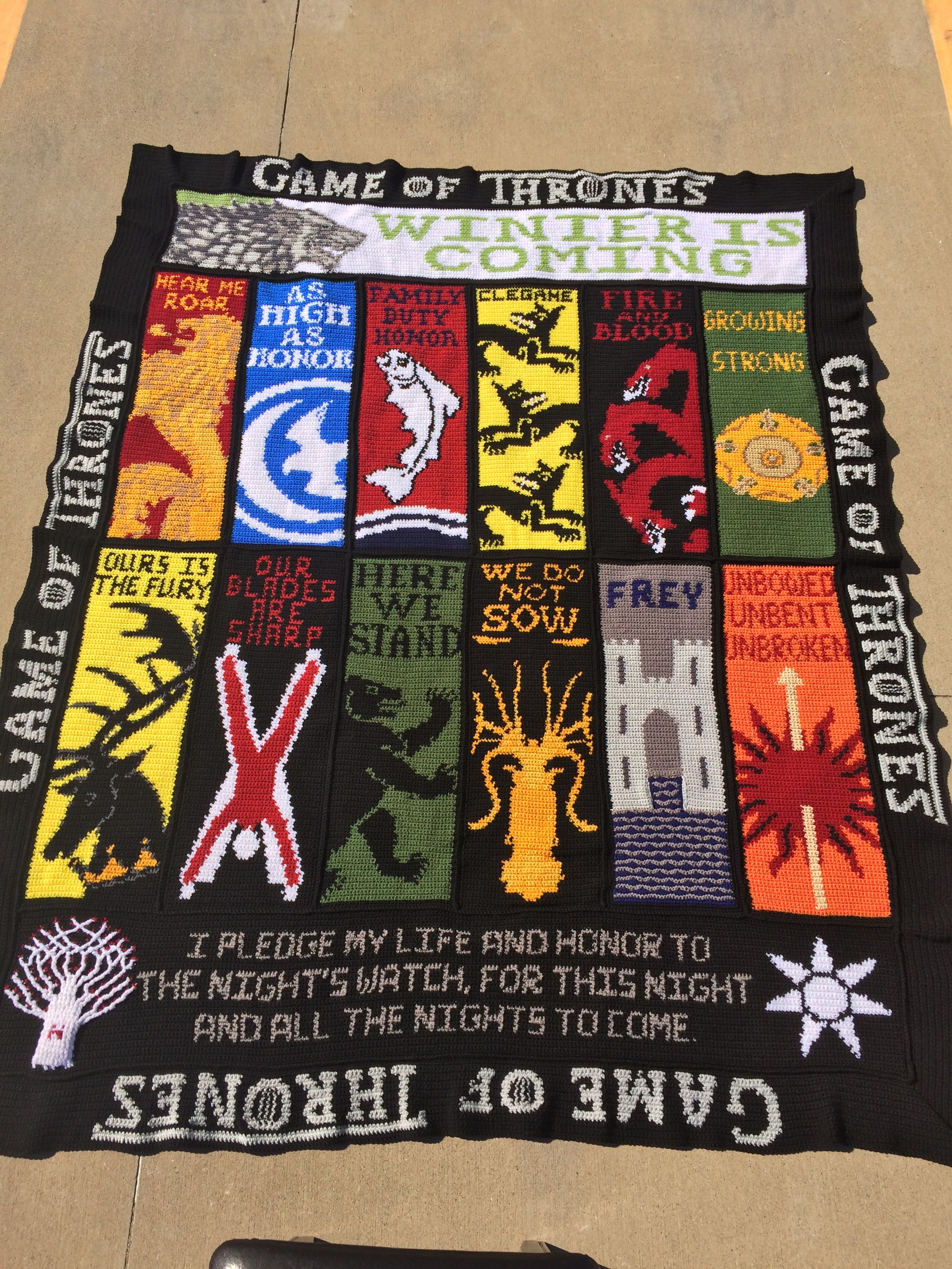 game of thrones crochet blanket graphghan is california king size h keln pinterest. Black Bedroom Furniture Sets. Home Design Ideas
