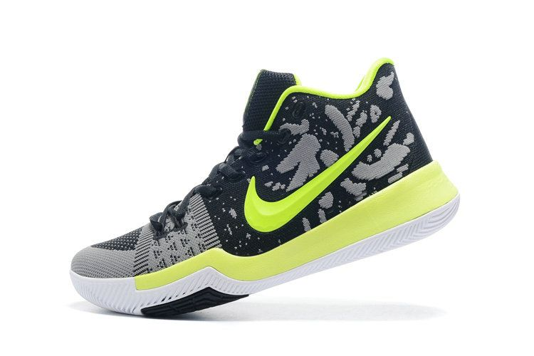 Newest Nike Really Cheap Kyrie 3 Flyknit Black Grey Lime