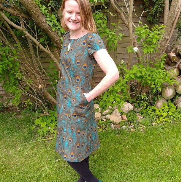Lovely Louise in a peacock Simplicity dress pattern with slanted ...
