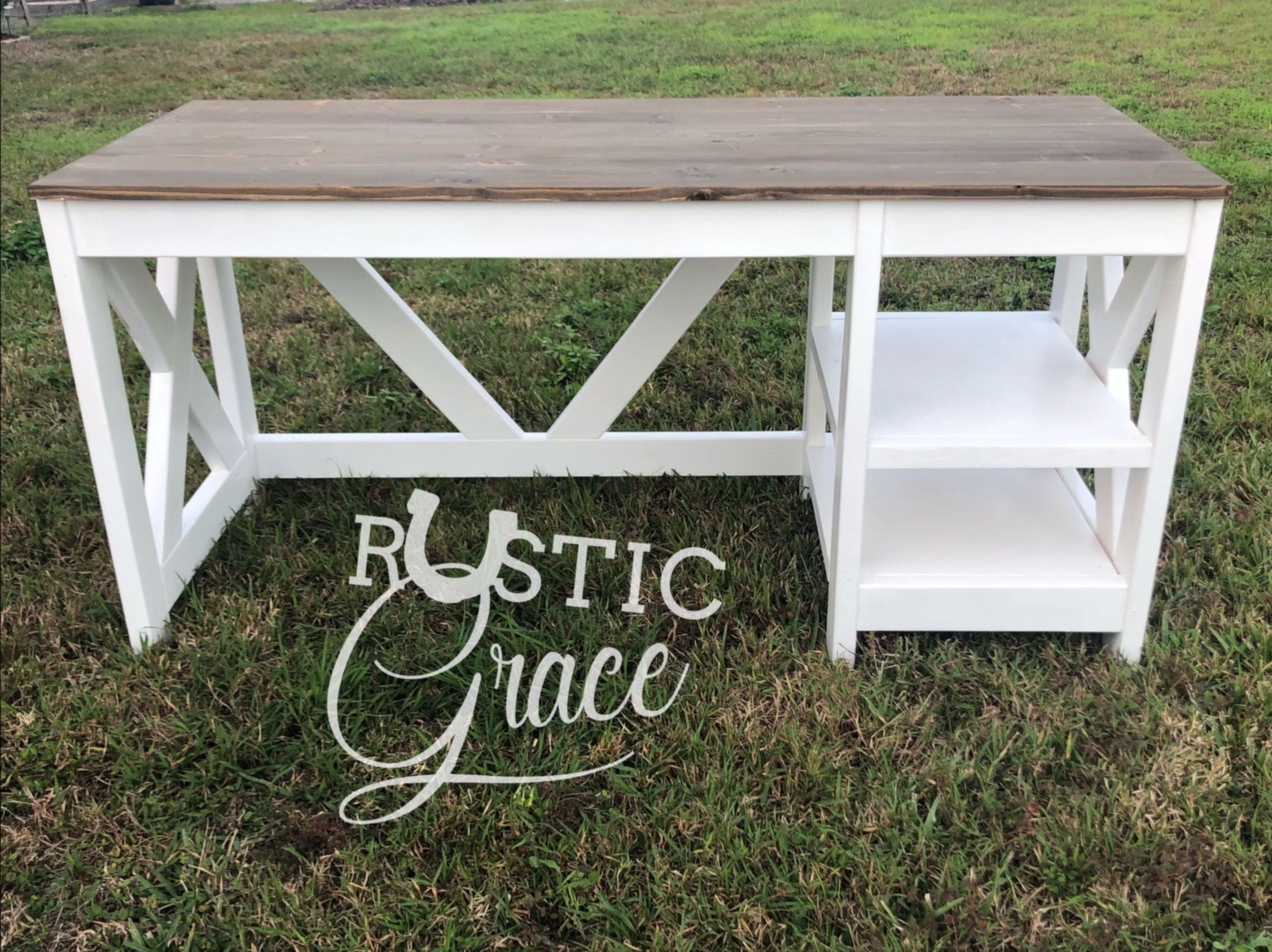 Farmhouse desk with a white base and a jacobean stained