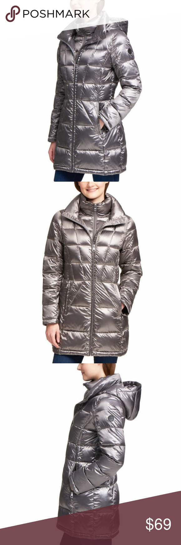2f8de5295cca3 Andrew Marc Ladies' Packable Down Jacket, NWOT Andrew Marc Women's Packable  Premium Down Long Puffer Jacket SKU: #P120-021 * New Without Tags Color:  Gray ...