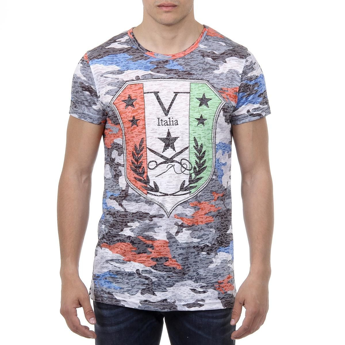V 1969 Italia Mens T-shirt Short Sleeves Round Neck Multicolor OWEN ... 16252e91975