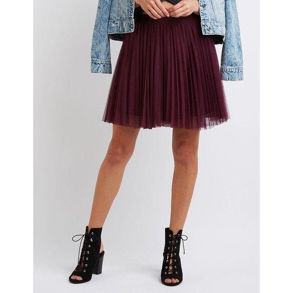 Charlotte Russe Tulle Full Skater Skirt ($15) ❤ liked on Polyvore featuring skirts, burgundy, burgundy skater skirt, high-waist skirt, circle skirt, flared skirt and pleated skater skirt