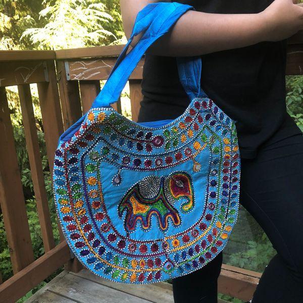 8a22c10dcf6a Blue Elephant Multi Color Handmade Shoulder Bag Ethnic Indian Boho Hippie  Gypsy Festival Beach Handbag Unisex Gift