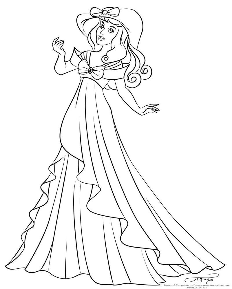 Lineart Aurora's spring dress by selinmarsou on