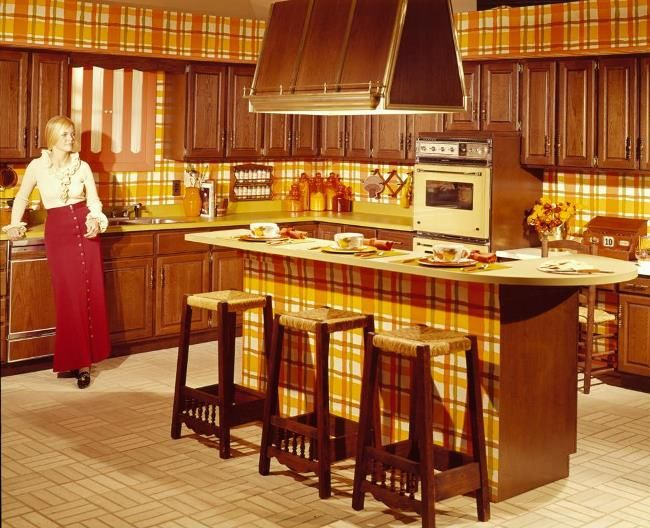 The evolution of kitchens through the years dark wood for 70s style kitchen cabinets
