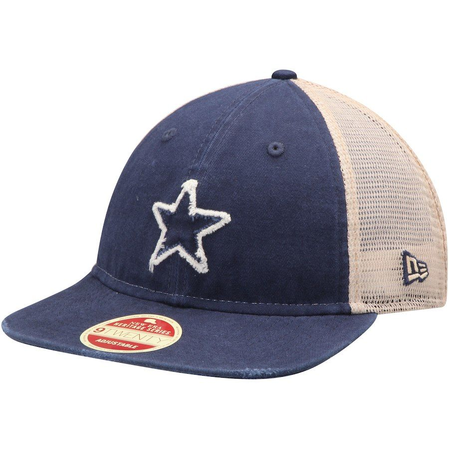 59cf6a1e9c556 Men s Dallas Cowboys New Era Navy Natural Frayed Twill 2 9TWENTY Adjustable  Hat