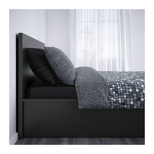 MALM Pull up storage bed - black-brown, Queen - IKEA