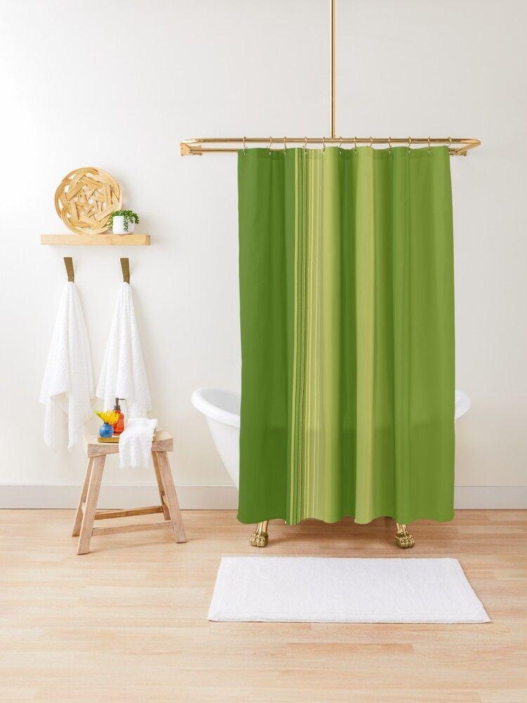 Retro Olive Green Stripes Shower Curtain By Sheila Wenzel Ganny
