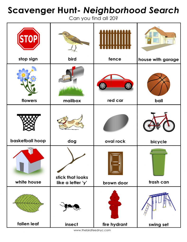 Scavenger Hunt for Kids: Print out and use in your neighborhood ...