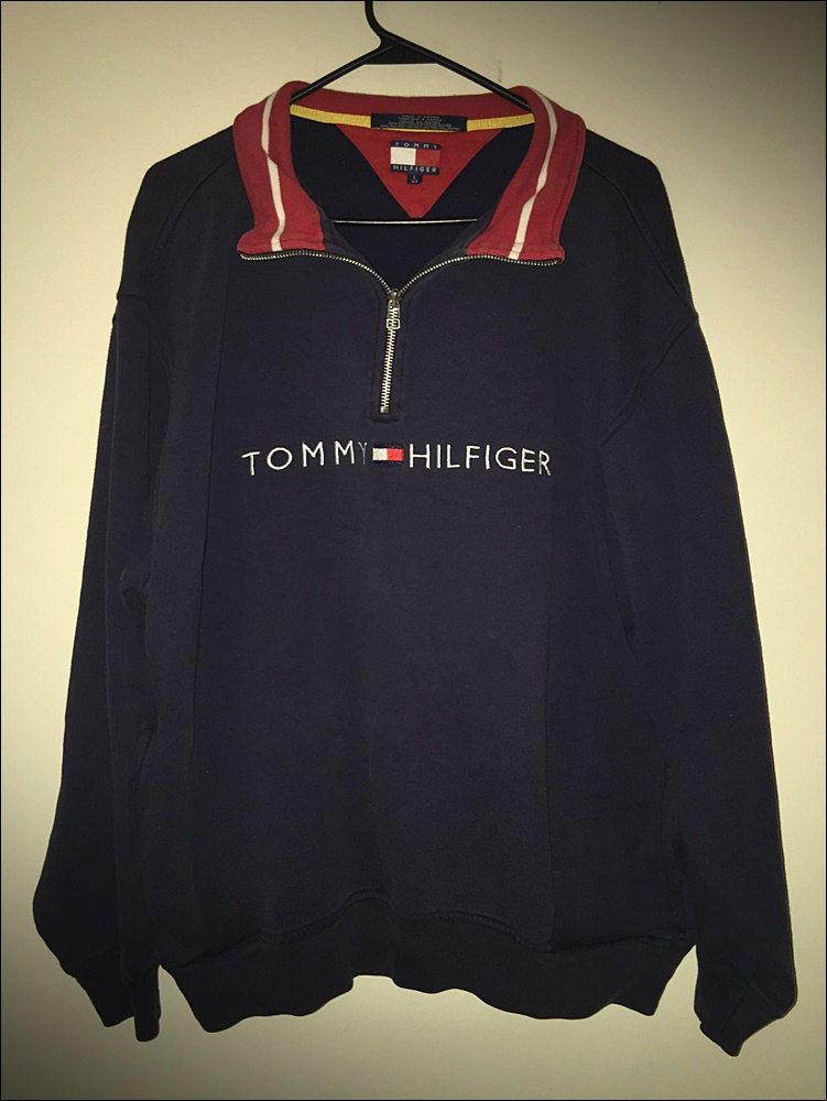Vintage 90's Tommy Hilfiger Spell Out Flag 14 Zip Pullover