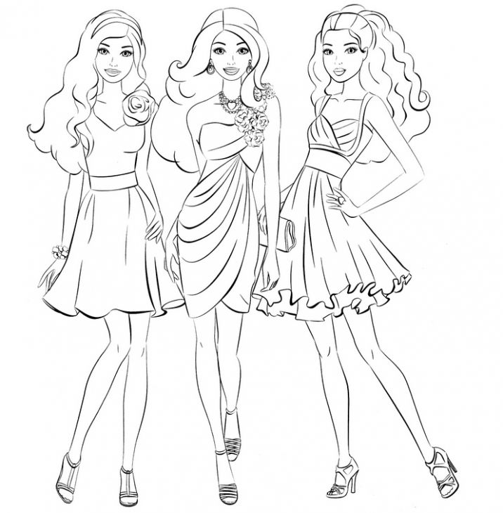 Barbie And Friends Going Shopping Girls Coloring Page