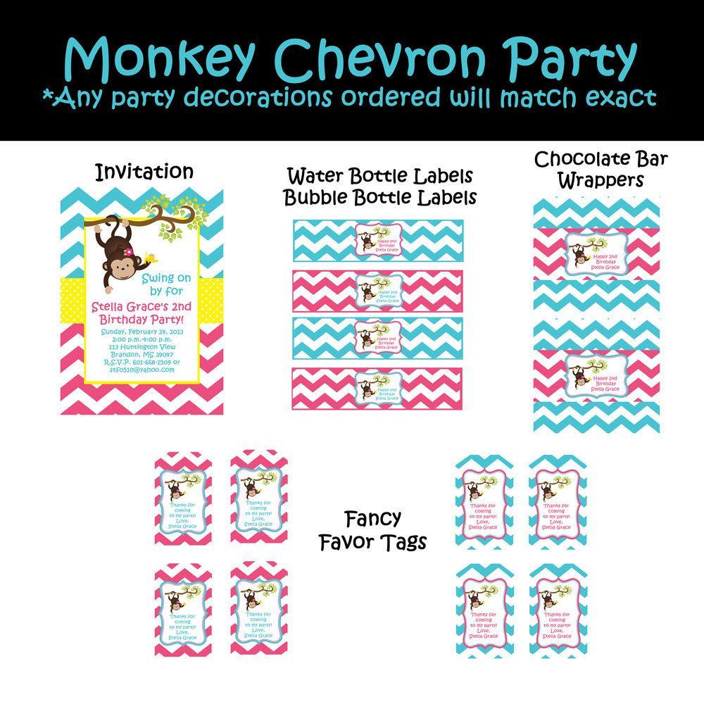 Monkey Birthday Invitation Girl Mod Monkey por CutiesTieDyeBoutique ...