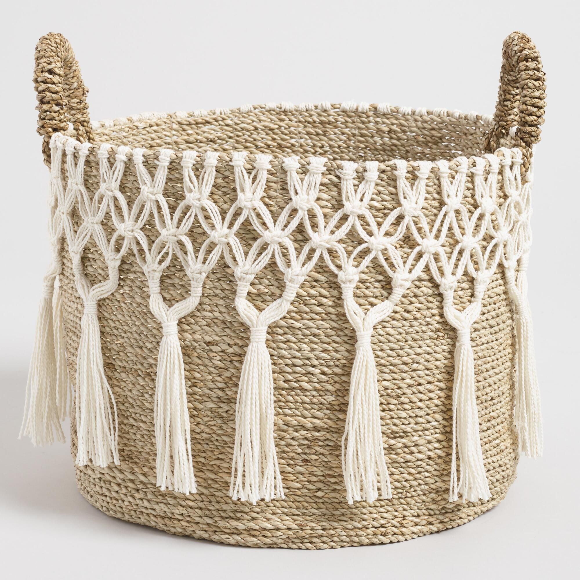 a08bbcbcb87e Large Natural Seagrass Haven Basket with White Macrame by World ...