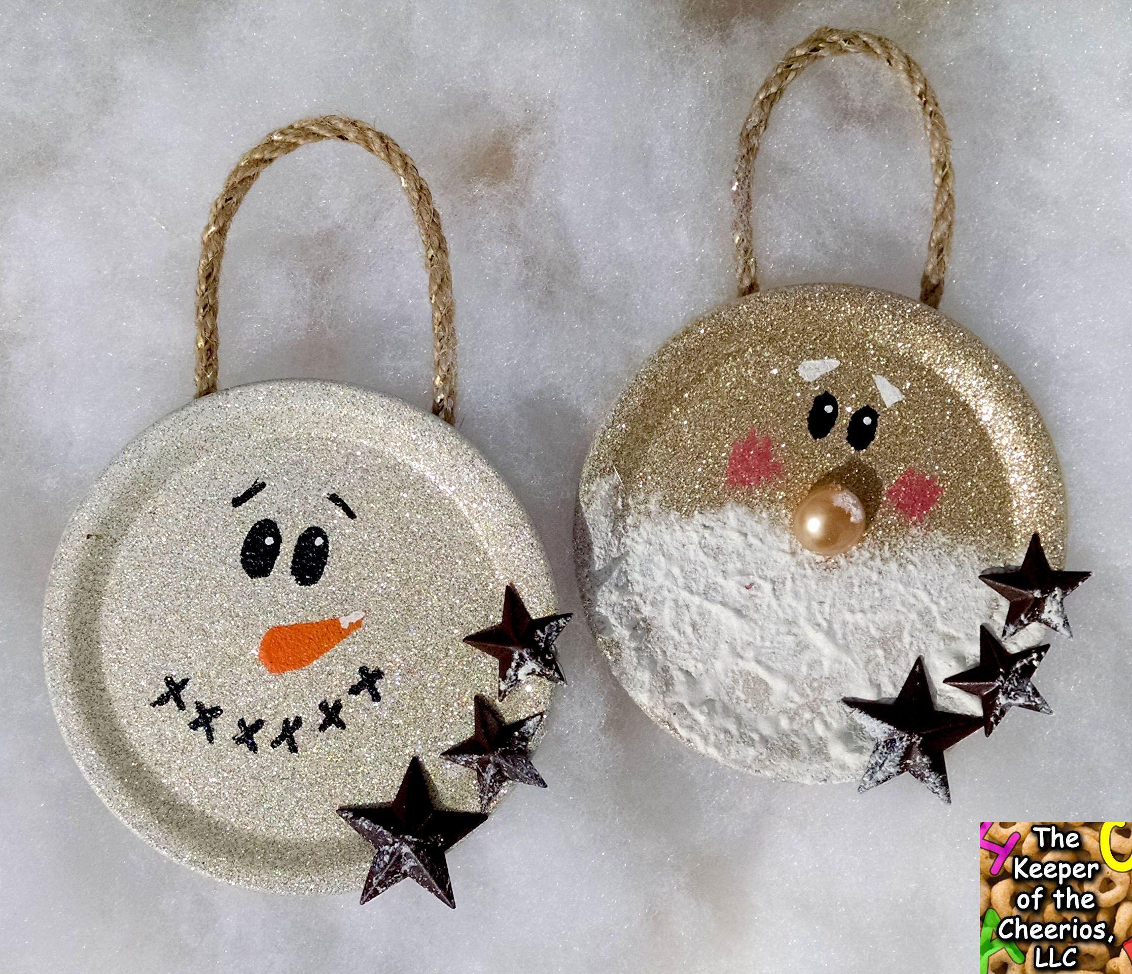 Mason jar ornaments - Mason Jar Lid Christmas Ornaments 2