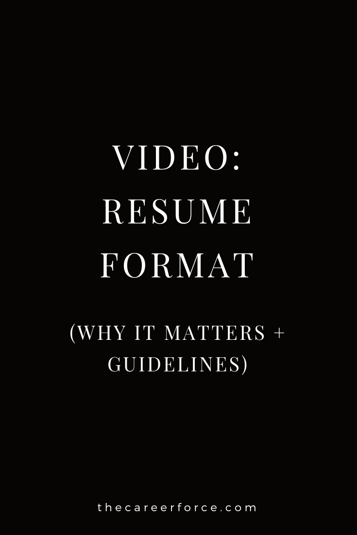 Resume Format Why It Matters Guidelines Video Tcf Videos