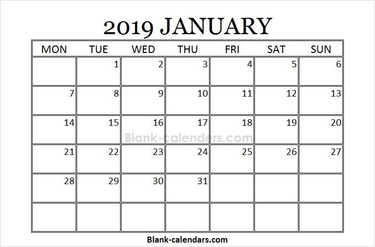 Blank January Calendar 2019 Monday Start Calendar 2018 Pinterest