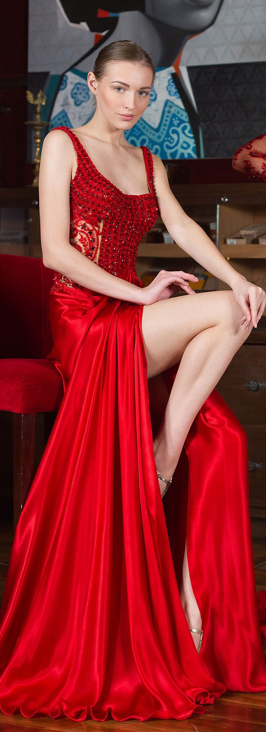 Toufiq hatab red wine u ruby dresses u gown are haute couture