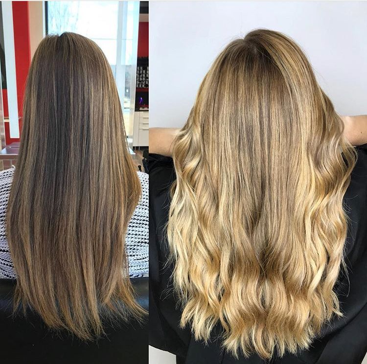 Before and after full balayage on level 7 hair and toned with a peachy  beige goldwell